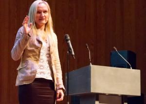 Die WMF-Geschäftsführerin Lila Tretikov trat erstmals bei einer Wikimania auf.