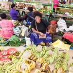 Eine Verkäuferin präsentiert ihre Ware auf dem Markt von Suva.