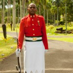 Wachsoldat vor dem Präsidentenpalais in Suva, der Hauptstadt Fidschis.