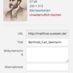 Titel, Alt-Text, eine Bildunterschrift (BU) und eine Beschreibung können in WordPress beim Dateiupload vergeben werden.