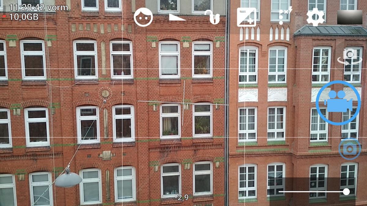 Screenshot der Benutzeroberfläche von Open Camera, einer Video-App